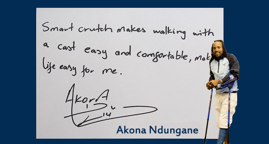 Smart crutch testimonial about comfort by Akona Ndungane