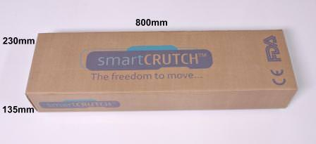 smart crutch is packaged as a pair left and right hand crutches